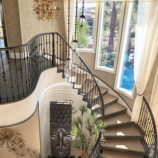 Imagen de escalera curva, tropical, con escalones enmoquetados, contrahuellas de madera y barandilla de varios materiales