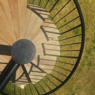 Пример оригинального дизайна: винтовая лестница среднего размера в современном стиле с деревянными ступенями без подступенок