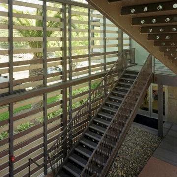 Lenzen Square: Slideshow Green entry stair.