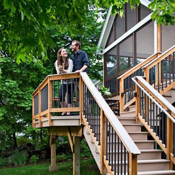 Lexington, MA screen porch and bi-level deck