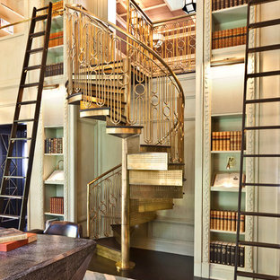 Inspiration for a small eclectic metal spiral staircase remodel in Los Angeles with metal risers