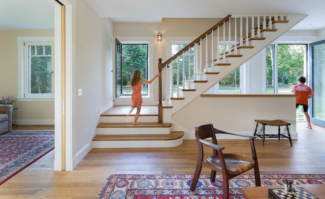 Farmhouse Staircase by ZeroEnergy Design