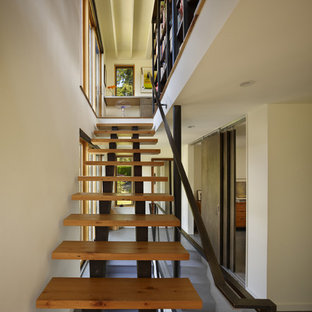 Inspiration For A Mid Sized Contemporary Wooden Straight Open Staircase  Remodel In Seattle