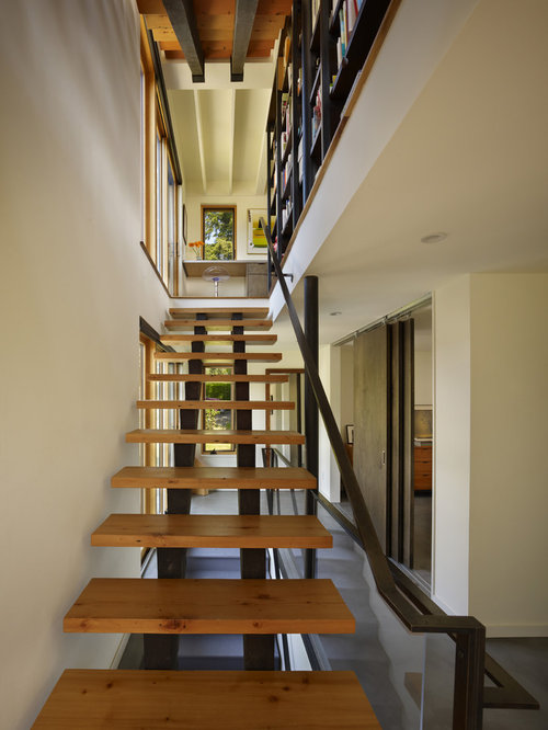 Inspiration For A Mid Sized Modern Wooden Straight Open Staircase Remodel  In Seattle
