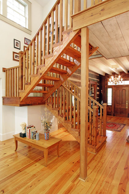 Rustic Staircase by Clark & Zook Architects, LLC
