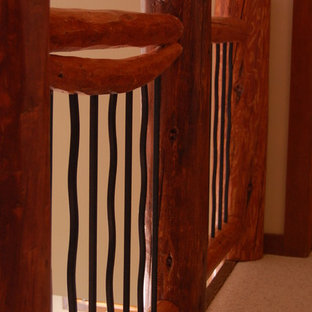 Log staircase railings (reclaimed lodgepole pine beatle kill wood)