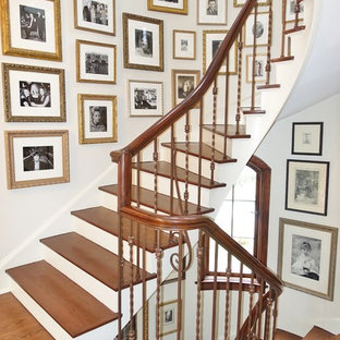 Inspiration for a mid-sized timeless wooden curved staircase remodel in Chicago with painted risers