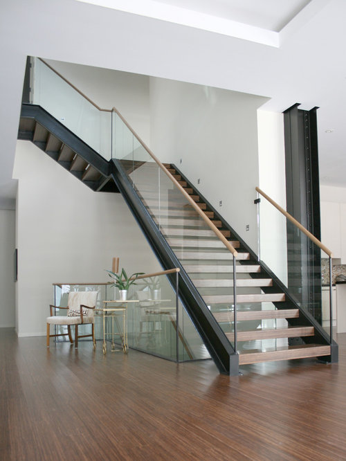 MILK Design London Stair W/ Wood Treads U0026 Glass Railing W/ Wood Cap Rail