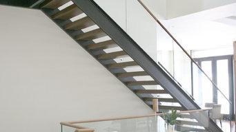 London Stair w/ Wood Treads & Glass Railing w/ Wood Cap Rail