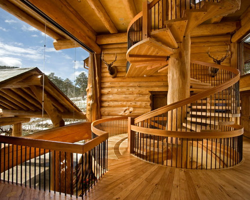 Rustic Wooden Spiral Open Staircase Idea In Denver