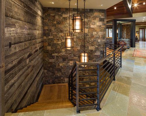 diseo de escalera en l rural con escalones de madera y de madera