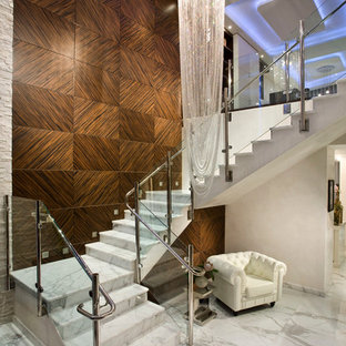 Staircase   Large Contemporary Marble U Shaped Glass Railing Staircase Idea  In Miami