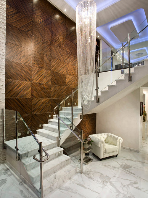 Large Contemporary Marble U Shaped Glass Railing Staircase Idea In Miami