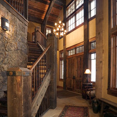 eclectic staircase by Lynne Barton Bier - Home on the Range Interiors