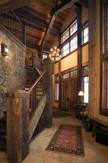 Rustic Staircase by Lynne Barton Bier - Home on the Range Interiors