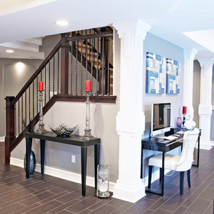 Inspiration for a contemporary u-shaped staircase remodel in Detroit