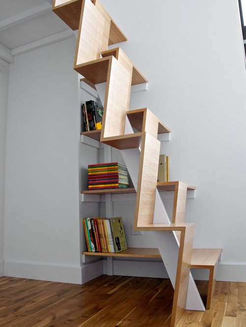Good Example Of A Minimalist Wooden Staircase Design In New York