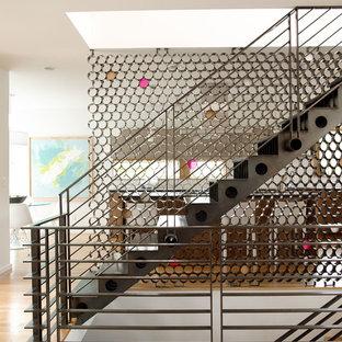Ispirazione per una grande scala a rampa dritta contemporanea con pedata in metallo e alzata in metallo
