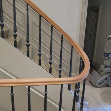 Mahogany handrail on wrought iron