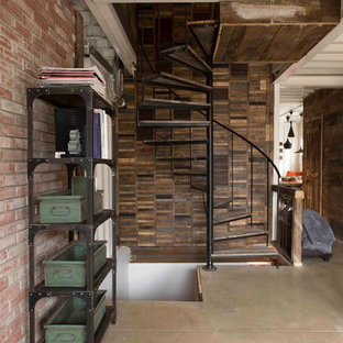 Staircase - industrial spiral staircase idea in Montreal