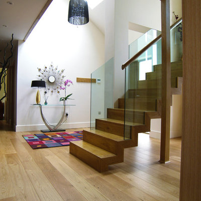 Example of a trendy wooden straight staircase design in Other with wooden risers