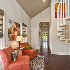 Transitional Staircase by Maria Barcelona Interiors, LLC
