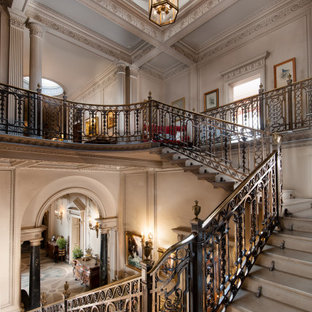 This is an example of a traditional u-shaped metal railing staircase in Other.
