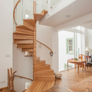 This is an example of a contemporary wood spiral staircase in Other with wood risers.