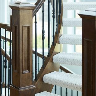 エドモントンのカーペット敷きのトラディショナルスタイルのおしゃれな階段 (混合材の手すり) の写真