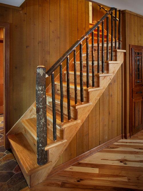 foto de escalera en l rural de tamao medio con escalones de madera