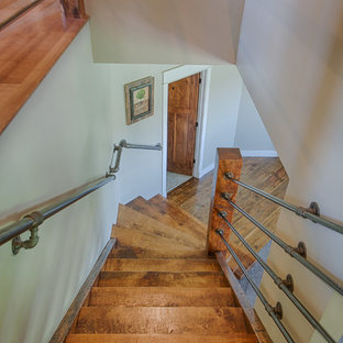 Mid Sized Transitional Wooden Straight Metal Railing And Open Staircase  Photo In Denver