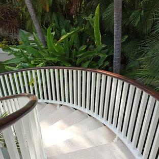 Foto på en mellanstor tropisk svängd trappa, med klinker och sättsteg i kakel