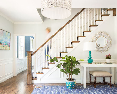 Transitional Wooden Straight Staircase Photo In Boston