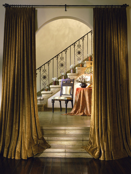 Mediterranean staircase idea in Los Angeles - Velvet Curtains Houzz