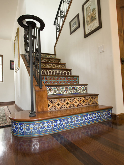 Example Of A Tuscan Wooden Staircase Design In Los Angeles