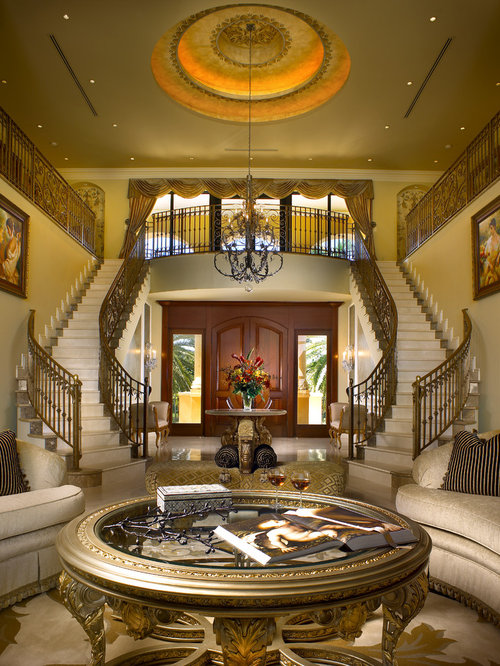 Double staircase home design ideas pictures remodel and for Mansion foyer designs
