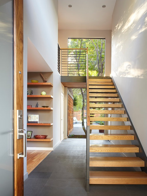 Contemporary Wooden Floating Open Staircase Idea In San Francisco