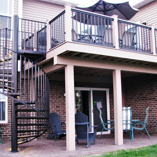 Metal Railing on Deck and Spiral Staircase