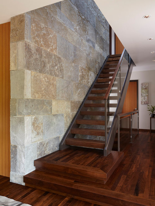 Example Of A Trendy Wooden Straight Open And Glass Railing Staircase Design  In Minneapolis