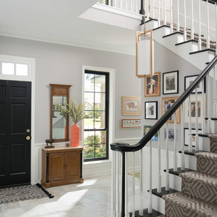 Example of a transitional wooden l-shaped wood railing staircase design in Houston with painted risers