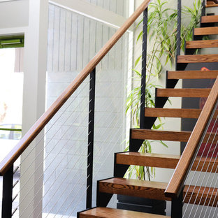 Mid Century Modern Open Staircase in Pittsford, NY