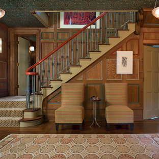 Staircase - traditional carpeted l-shaped staircase idea in New York with carpeted risers