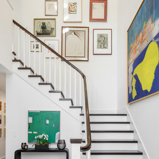 Staircase Transitional Wooden L Shaped Wood Railing Idea In Sacramento With Painted Risers