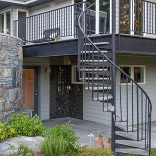 Idéer för en mellanstor modern trappa, med öppna sättsteg