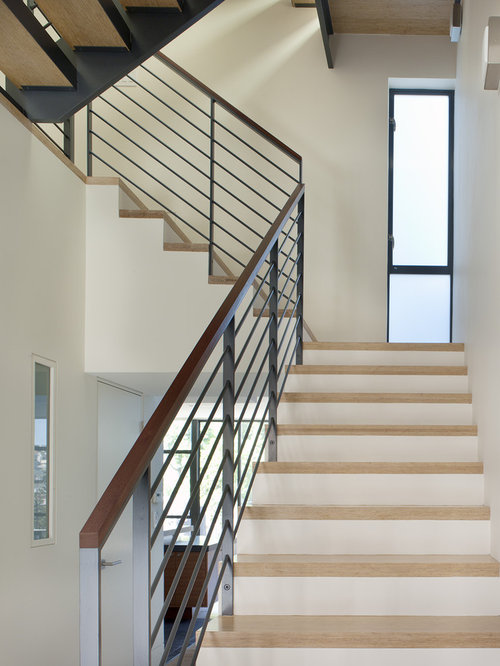 Inspiration For A Modern Wooden U Shaped Metal Railing Staircase Remodel In  San Francisco
