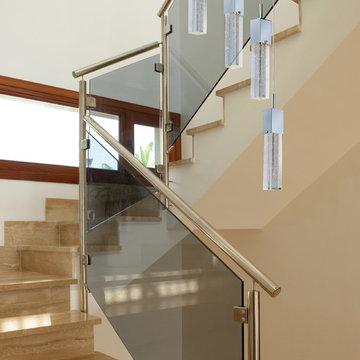 Modern Art Deco Staircase w. ET2 Lighting Fizz Bubble Glass Multi Pendant Lights