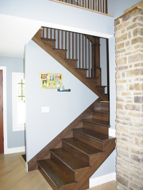 Best Farmhouse Dark Stained Wood Staircase Design Ideas