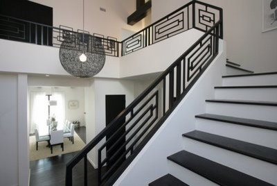 Contemporary Staircase Railing Designs on farmhouse living room