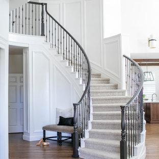 Ejemplo de escalera curva, tradicional renovada, grande, con escalones de madera pintada, contrahuellas de madera pintada y barandilla de varios materiales