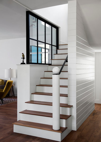 Farmhouse Staircase by Tim Cuppett Architects